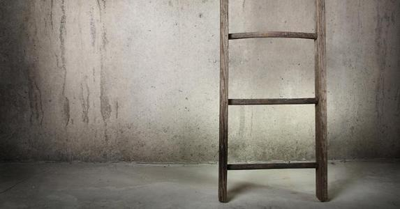 Old wooden ladder leaning on cement wall © Suzanne Tucker/Shutterstock.com