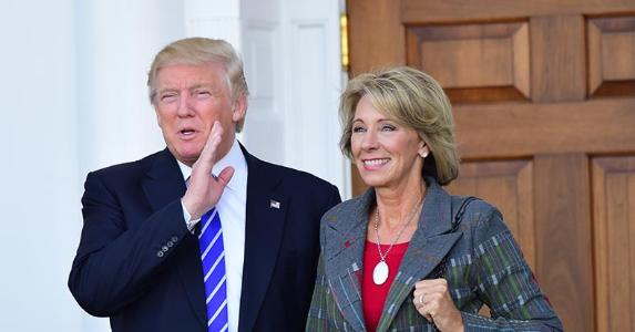 President-elect Donald Trump with Betsy DeVos | Pacific Press/Getty Images