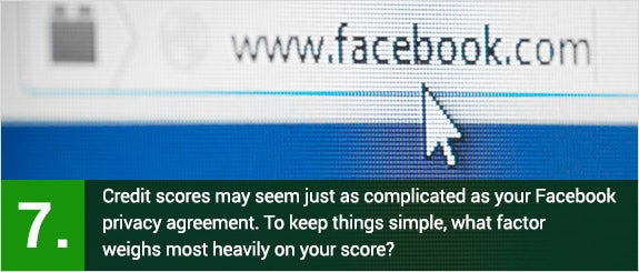 (7)Credit scores may seem just as complicated as your Facebook privacy agreement. To keep things simple, what factor weighs most heavily on your score? © Kesu/Shutterstock.com