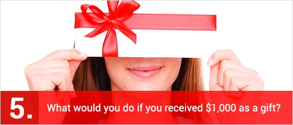 What would you do if you received $1,000 as a gift? © altafulla/Shutterstock.com