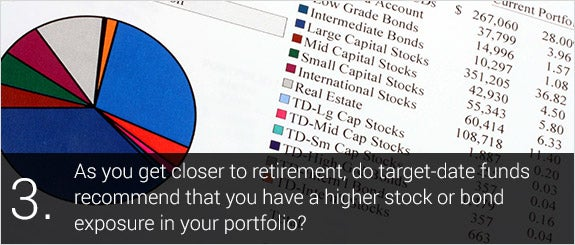 As you get closer to retirement, do target-date funds recommend that you have a higher stock or bond exposure in your portfolio? © Ryan R Fox/Shutterstock.com