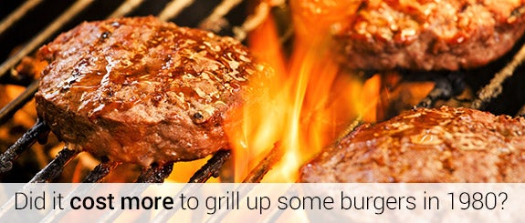 Did it cost more to grill up some burgers in 1980? © mpessaris/Shutterstock.com