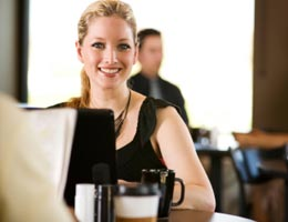 Banking online in a cafe