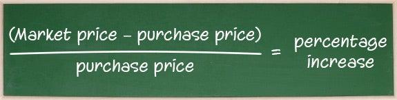 (Market price – Purchase price) ÷ Purchase price = Percentage increase