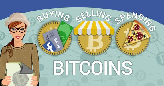10 steps to buy, sell and spend bitcoins | Slice of pizza: © whanwhan.ai /Shutterstock.com, Location marker: © file404/Shutterstock.com, Woman with hat: © Macrovector/Shutterstock.com, Awning: © file404/Shutterstock.com