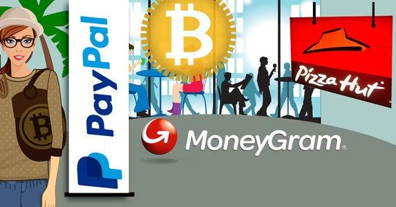 Bitcoin goes mainstream | Pizza Hut logo © rmnoa357/Shutterstock.com, Mall afe: © Andrey Burmakin/Shutterstock.com, Pay Pal logo, Moneygram logo