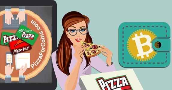 Buying pizza with bitcoin | Location marker: © Maglara/Shutterstock.com, Wallet icon: © Artco/Shutterstock.com, Pizza Hut logo ©rmnoa357/Shutterstock.com, Pizza crust: © Derter/Shutterstock.com