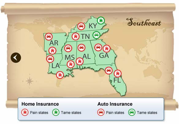 Southeast states with highest insurance rates | Bankrate.com