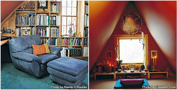 Raleigh house meditation writing space and attic meditation space.