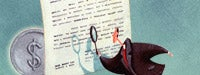 A cartoon man reading a large piece of paper with a magnifying glass and a large coin with a &quot;$&quot; on it and a blue background