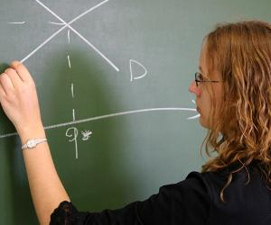 Teacher plotting out concept on chalkboard