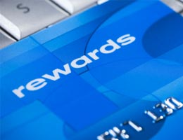 Close up of a reward credit card