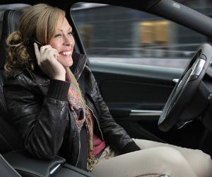 Woman in self-driving car
